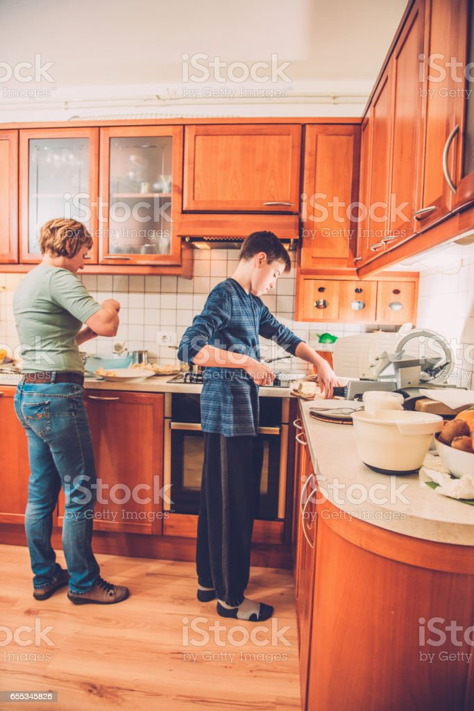 Cooking Home Made Gnocchi and Cream Sauce, Southern Europe stock photo