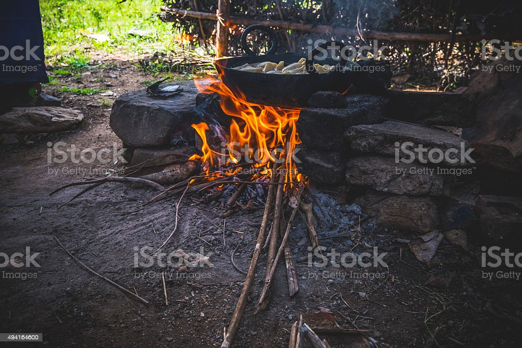 Cooking in a Village stock photo