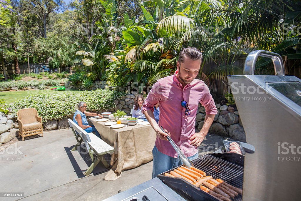 Cooking in the  barbecue stock photo