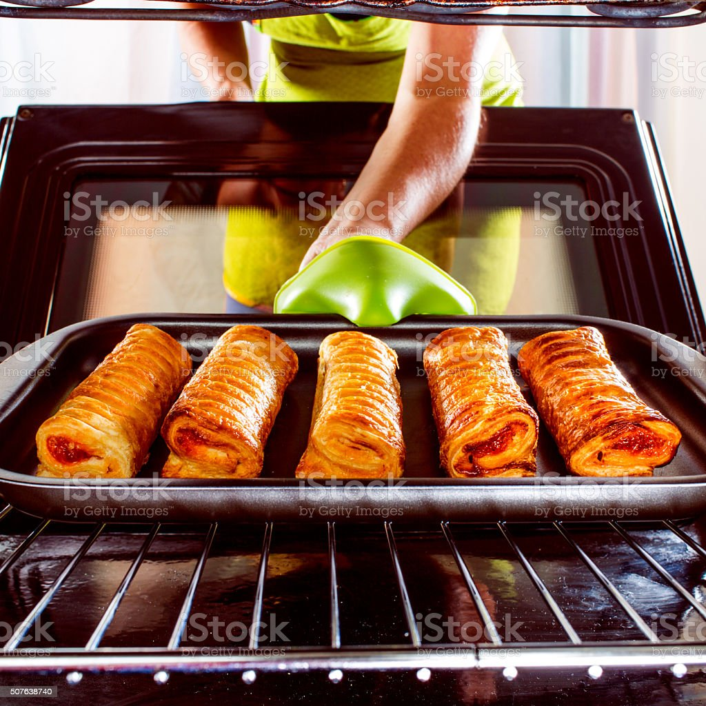 Cooking in the oven at home. stock photo