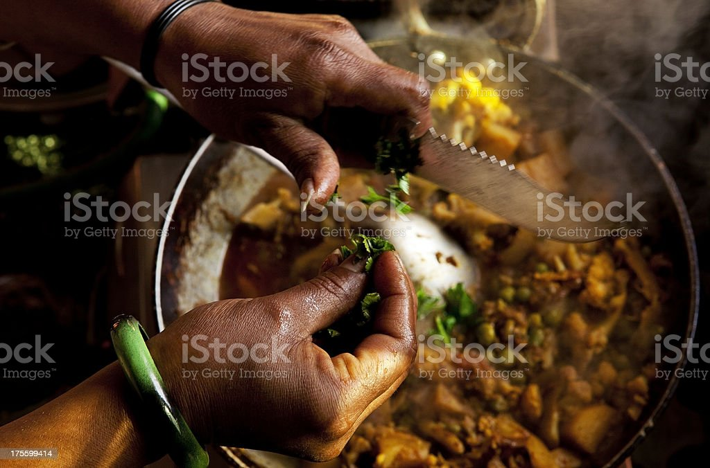 Cooking Indian Vegetable Dish royalty-free stock photo