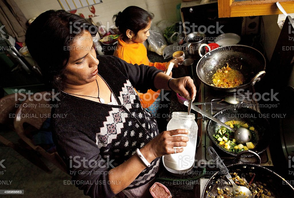 Cooking Indian Vegetable Lunch royalty-free stock photo