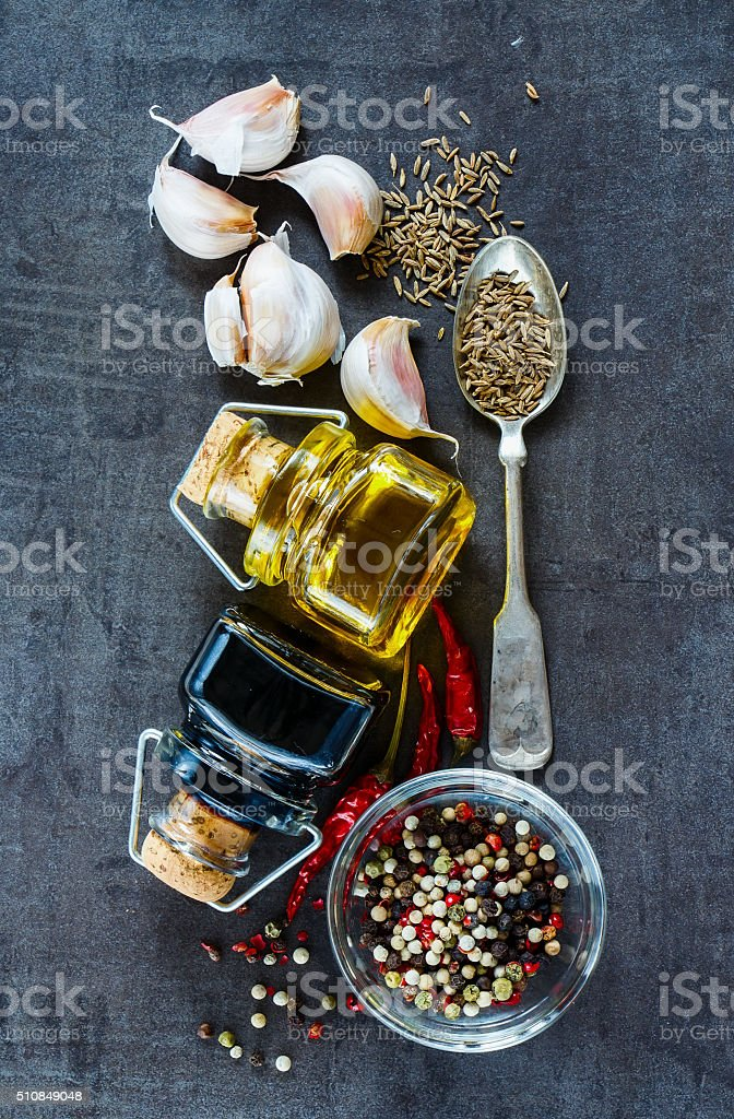 Cooking ingredients background stock photo