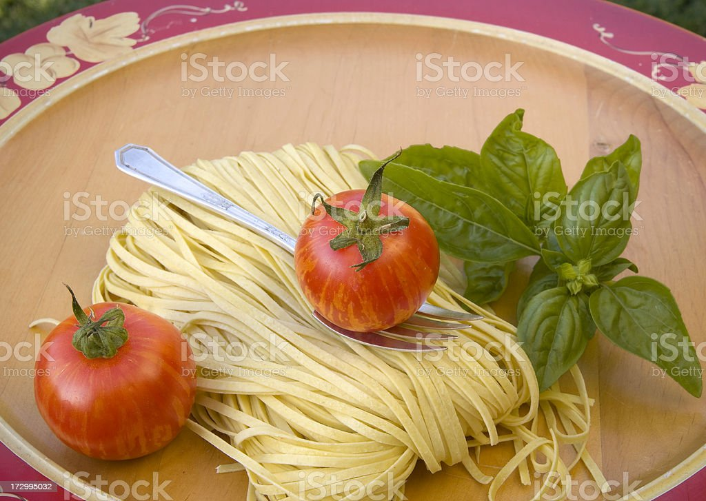 Cooking Ingredients; Healthy Food & Italian Spaghetti Past Dinner royalty-free stock photo