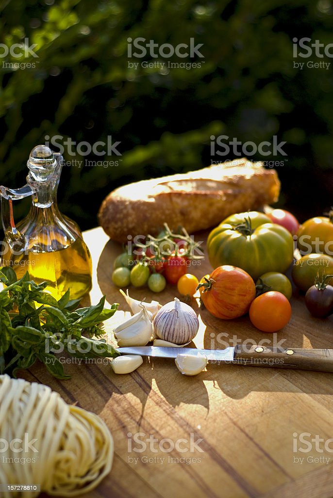 Cooking Ingredients & Olive Oil, Food for Italian Pasta Dinner royalty-free stock photo