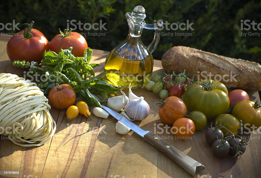 Cooking Ingredients & Olive Oil, Food for Italian Vegetable Pasta Dinner royalty-free stock photo