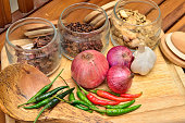 Cooking ingredients. Spice and herbs with onion and garlic