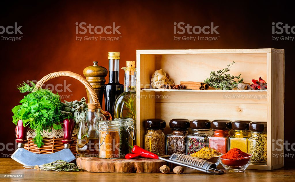 Cooking Ingredients, Spices and Herbs stock photo