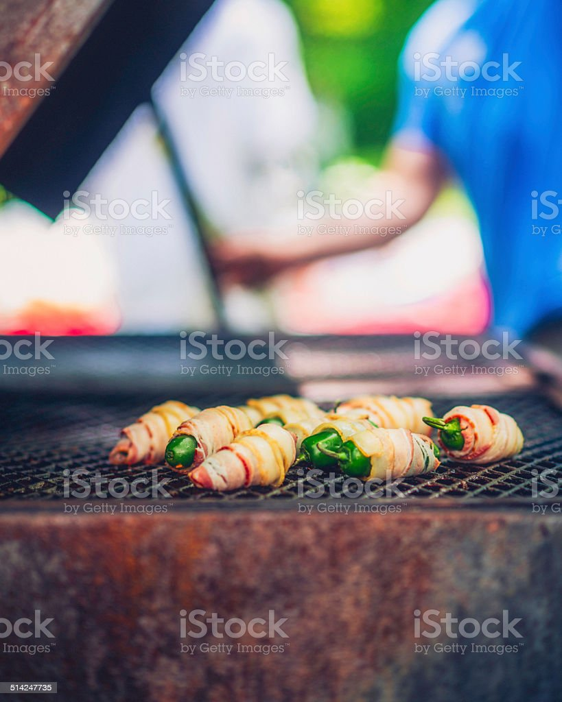 Cooking Jalapeno Poppers at BBQ Picnic stock photo