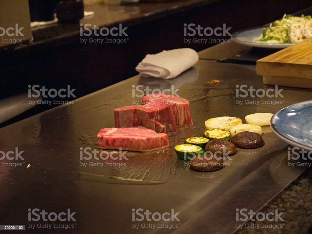 Kobe beef steak on teppan stock photo