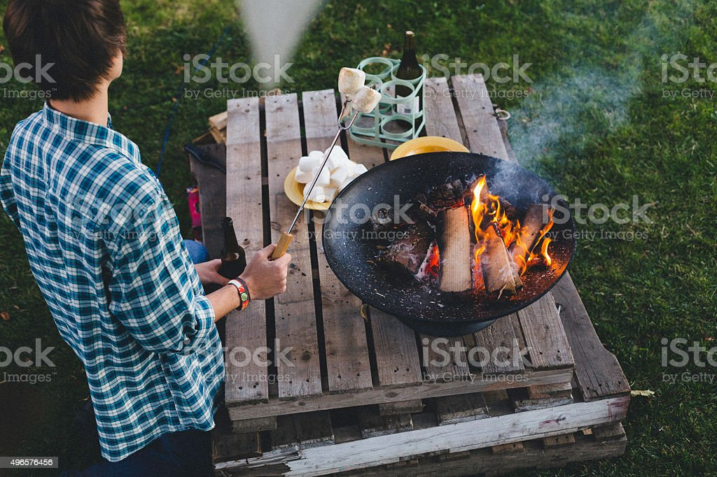 Cooking Marshmallows on the Fire stock photo
