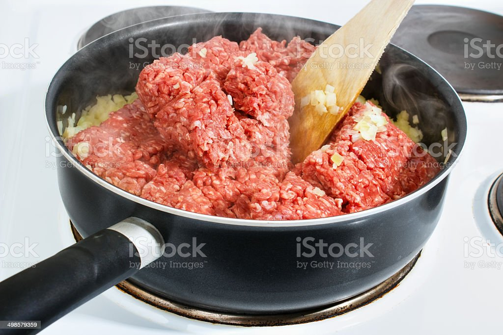Cooking minced meat royalty-free stock photo