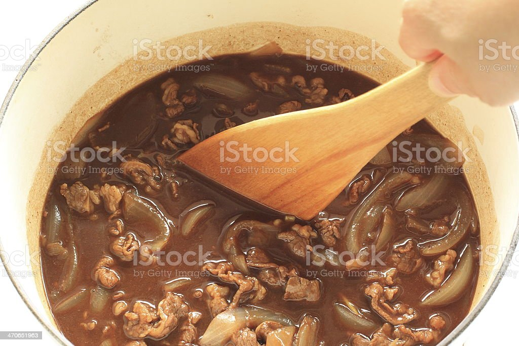 cooking of Hashed beef stock photo