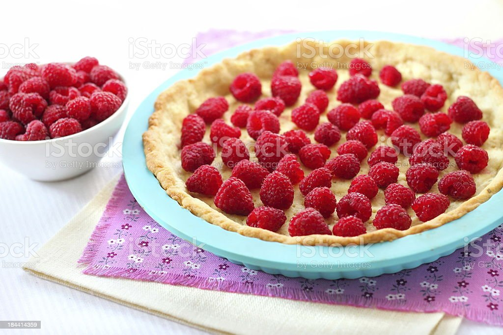 Cooking of tart with raspberry royalty-free stock photo