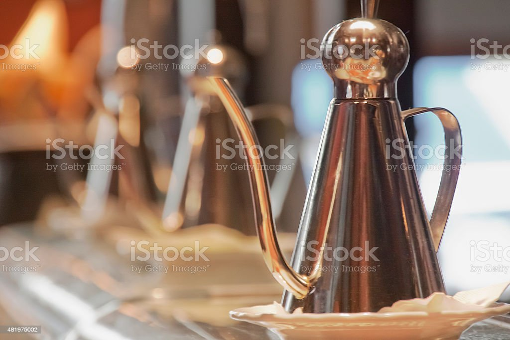 Cooking oil cruets in a row. stock photo
