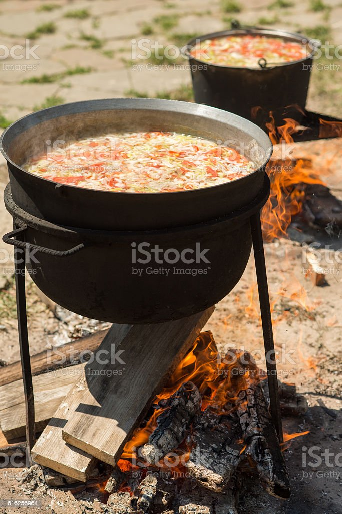 cooking on a fire. stock photo