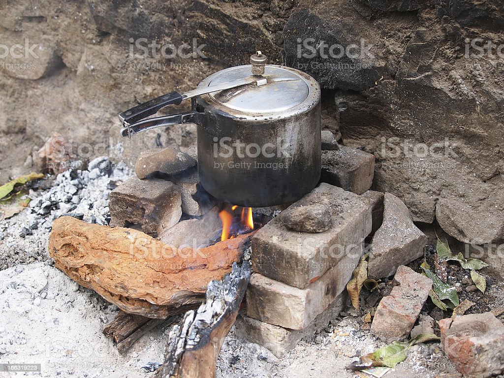 cooking on fire royalty-free stock photo