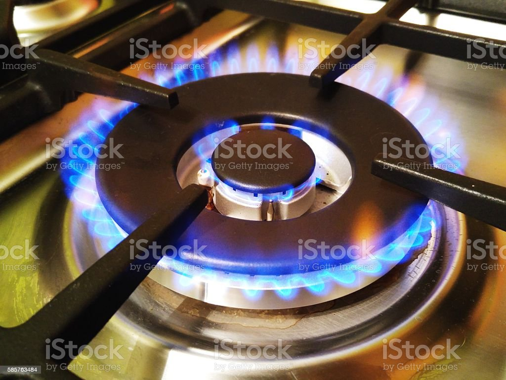 Cooking on gas stock photo
