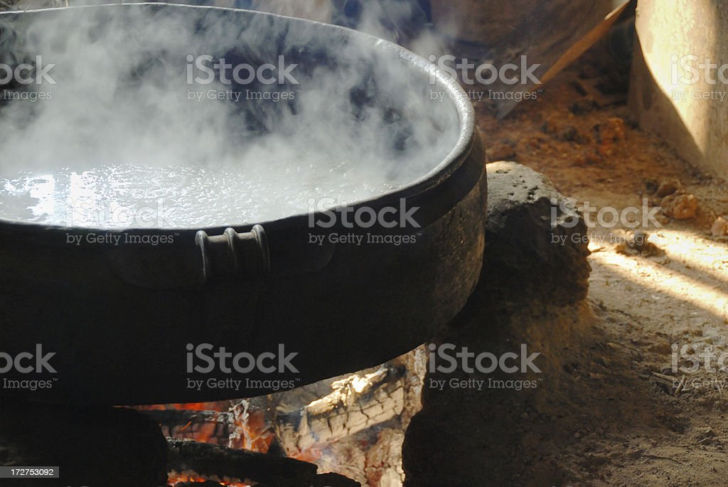 cooking on open fire royalty-free stock photo