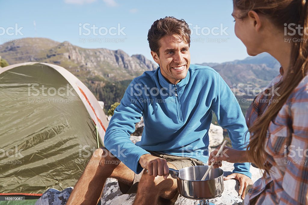 Cooking on the mountain royalty-free stock photo