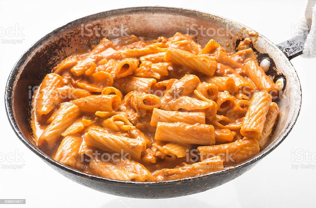 Cooking Pasta in the pan stock photo