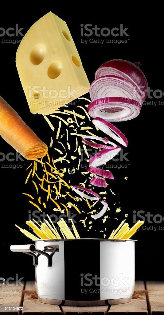 cooking pasta stock photo
