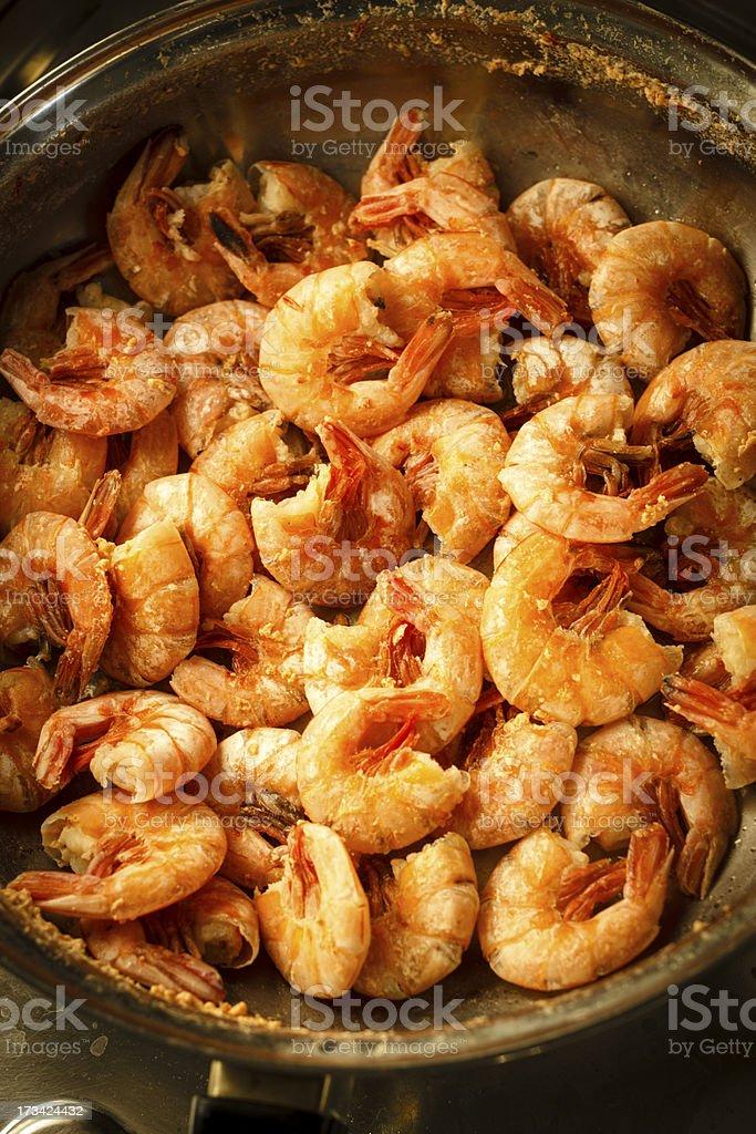 Cooking prawns royalty-free stock photo