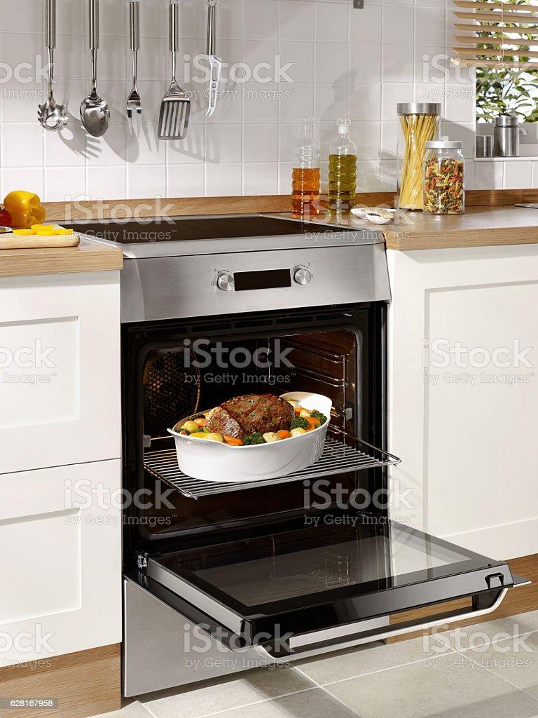 Cooking Rast beef stock photo