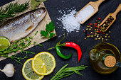 Cooking Raw Fish and Ingredients