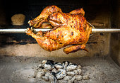 Cooking rotisserie chicken on the grill with Charcoal and Brique
