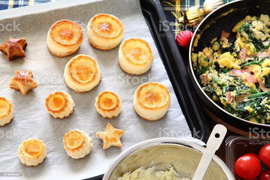 Cooking scene for mini quiche stock photo