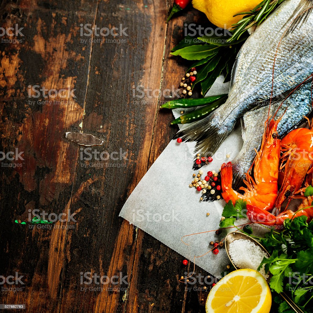 Cooking seafood stock photo