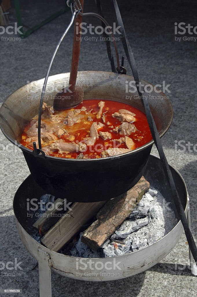 cooking soup outdoor royalty-free stock photo