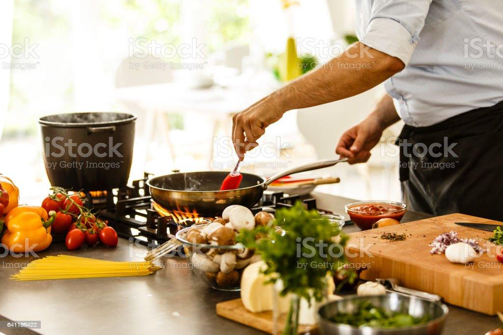 Cooking spagheti stock photo