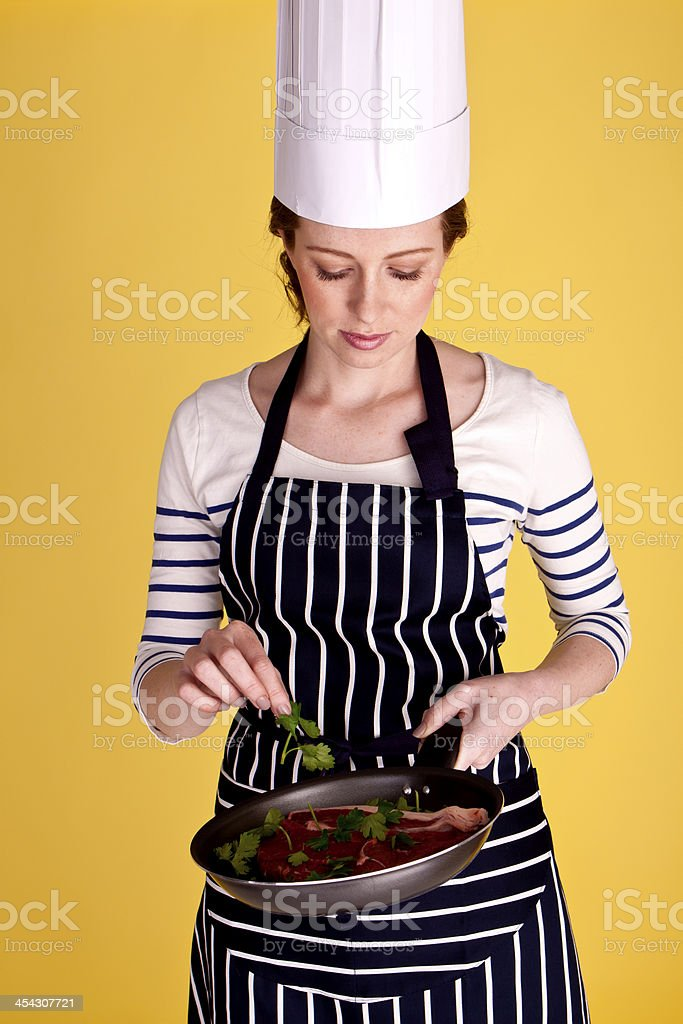 Cooking steak. royalty-free stock photo