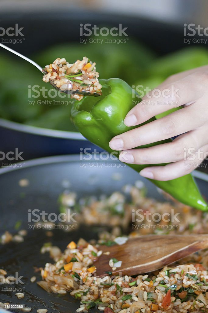 Cooking stuffed pepper royalty-free stock photo