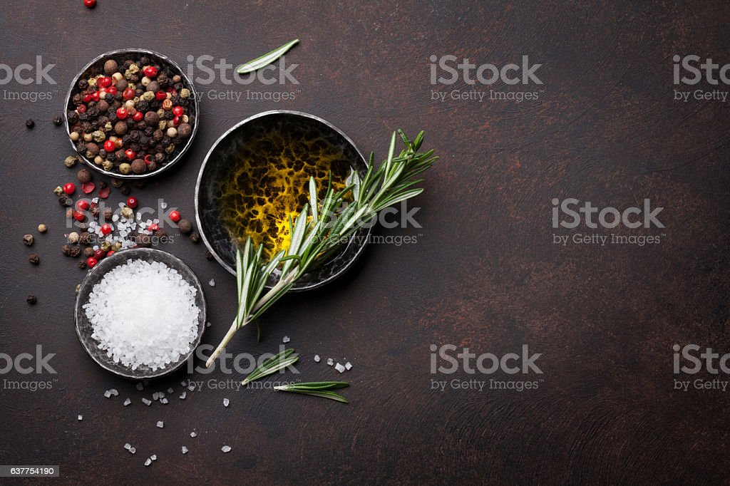 Cooking table with herbs and spices stock photo