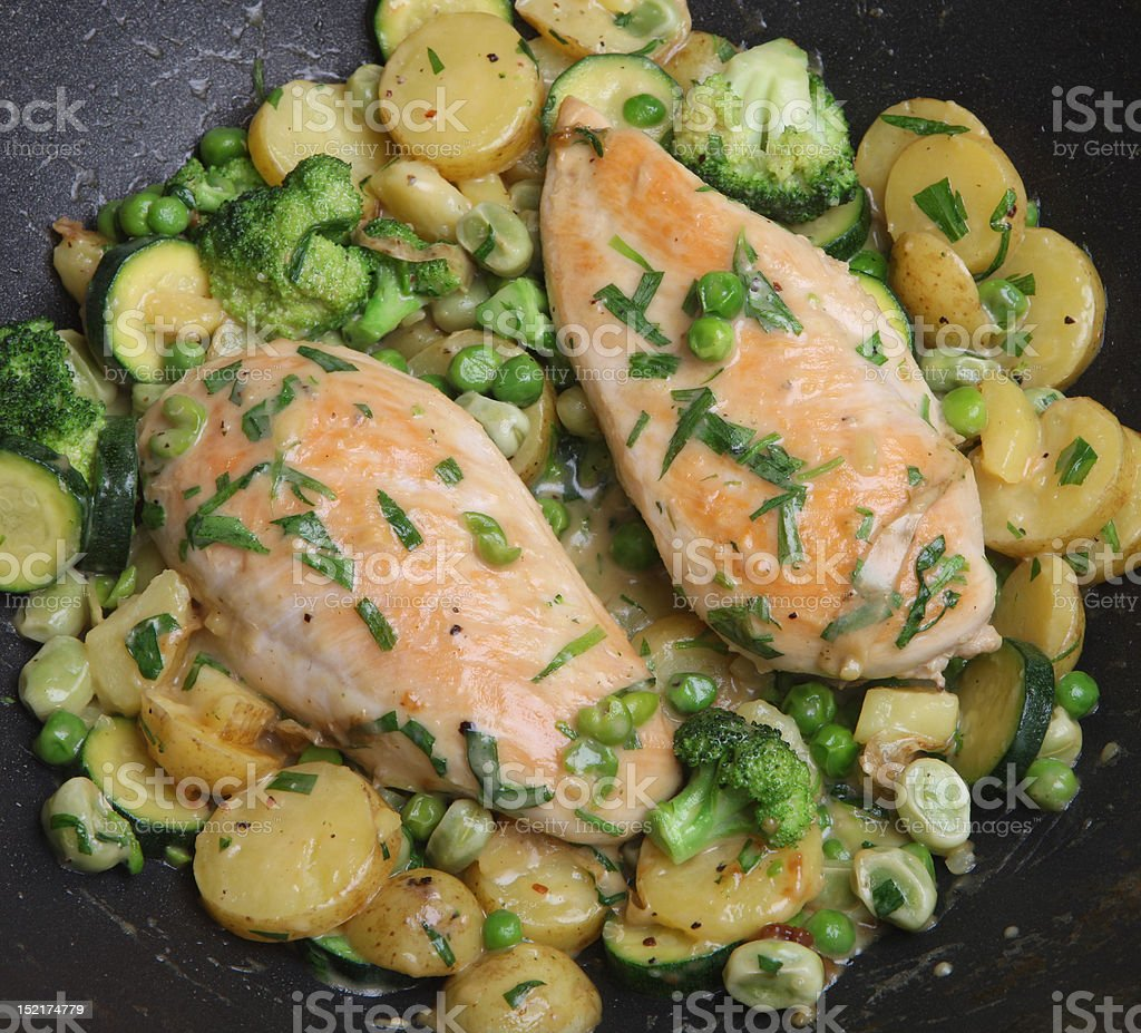 Cooking Tarragon Chicken in Pan stock photo