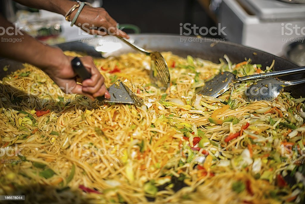 cooking thai noodle cuisine royalty-free stock photo