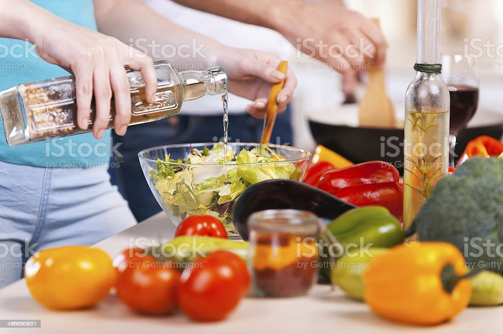 Cooking together. stock photo