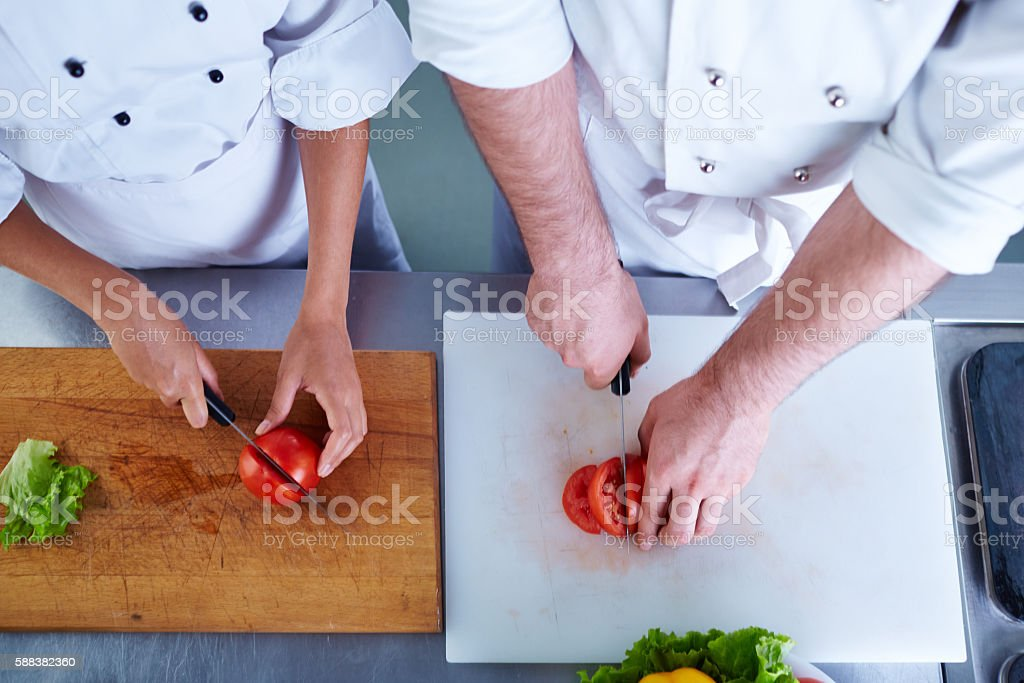 Cooking together stock photo