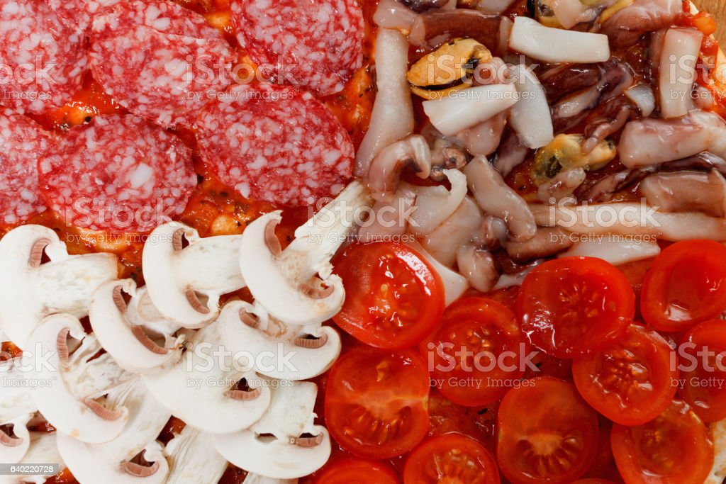 Cooking traditional Italian delicious pizza stock photo