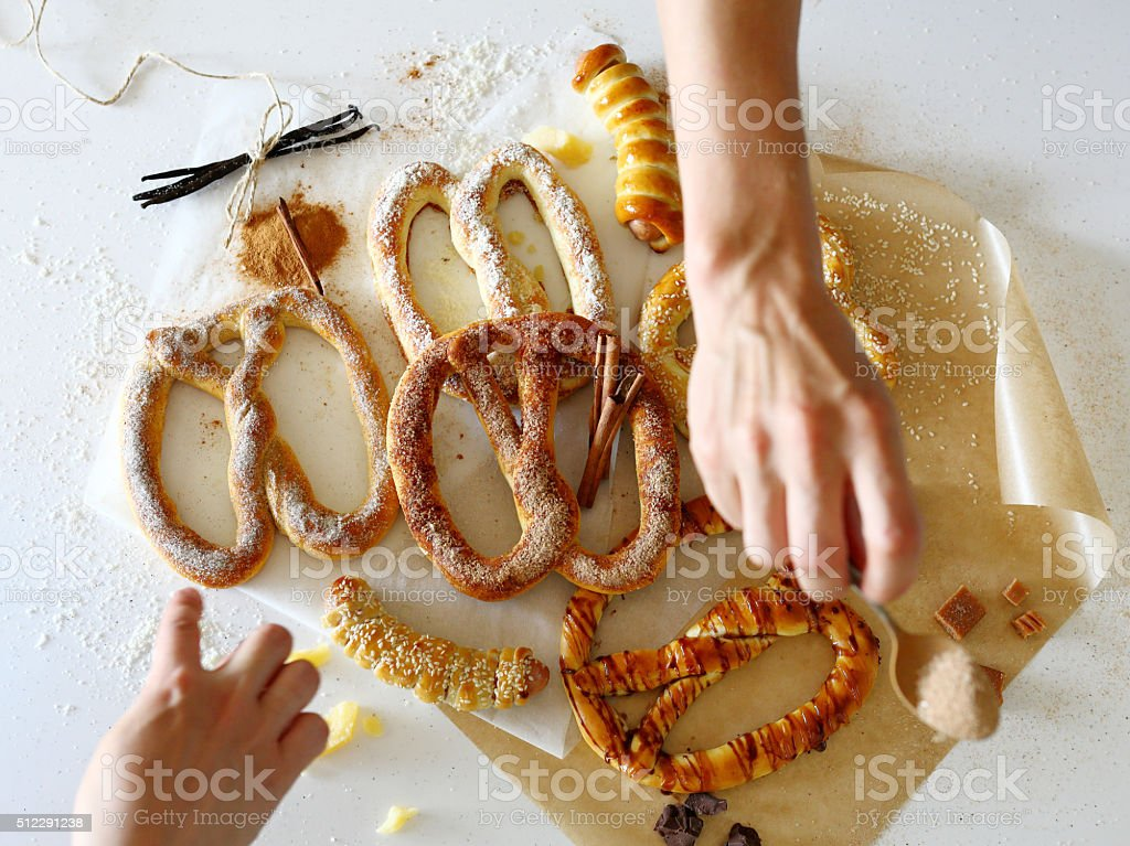 cooking traditional pretzels stock photo
