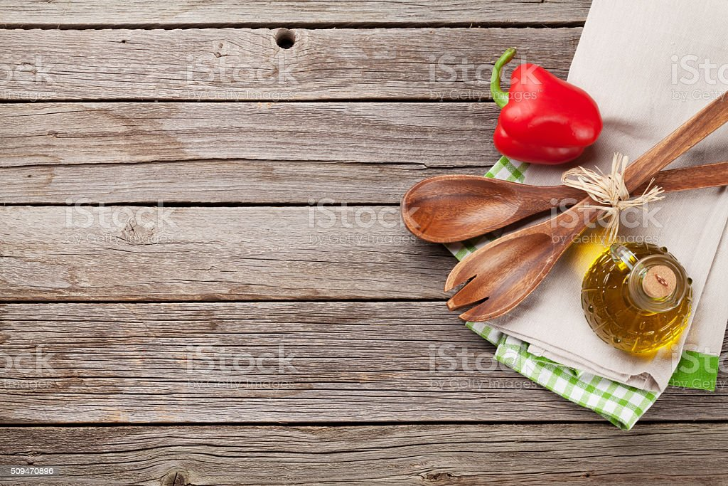 Cooking utensils and ingredients stock photo