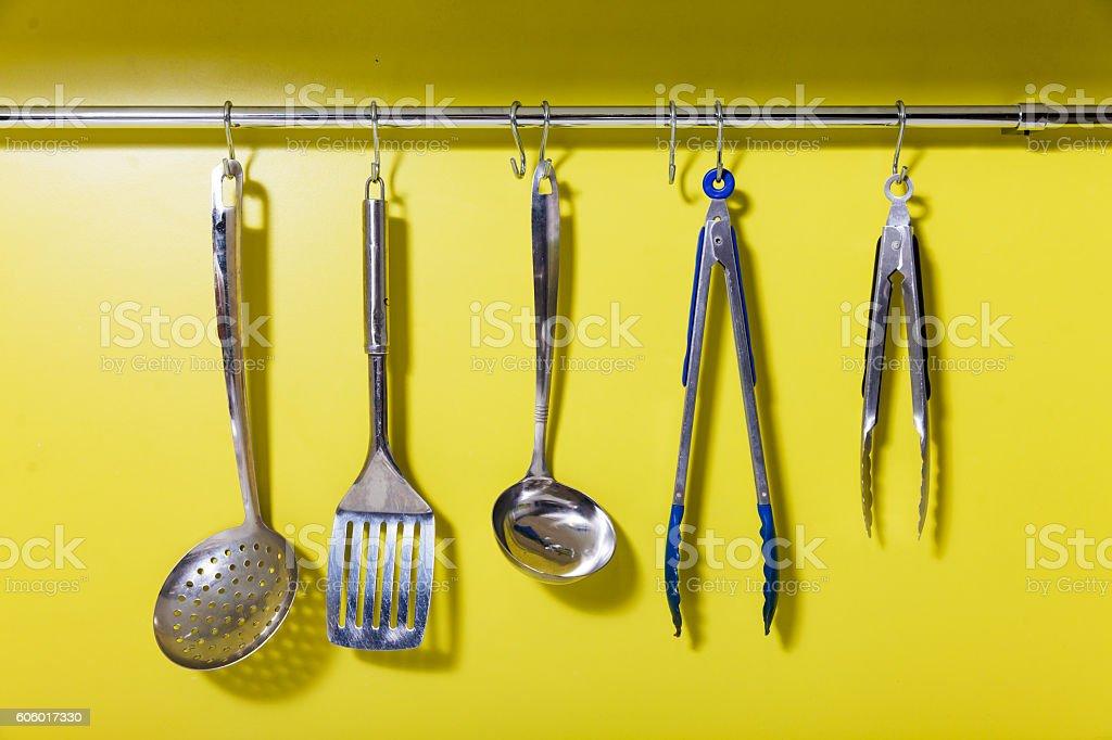 Cooking utensils on the hanger stock photo