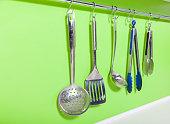Cooking utensils on the hanger