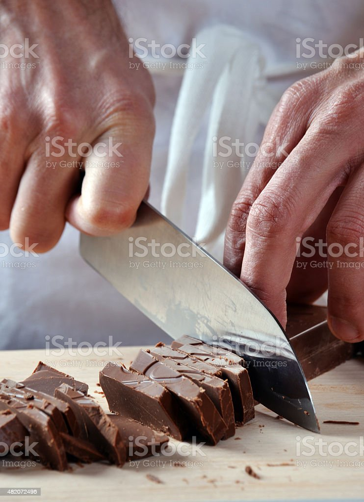 Cooking with chocolate. stock photo