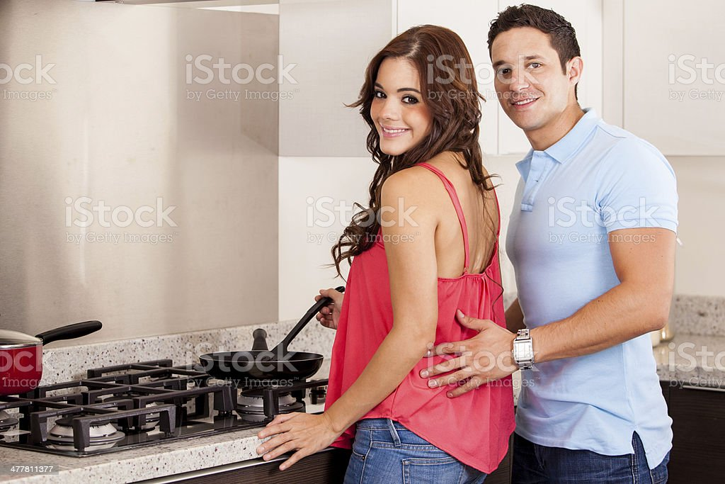 Cooking with my partner royalty-free stock photo