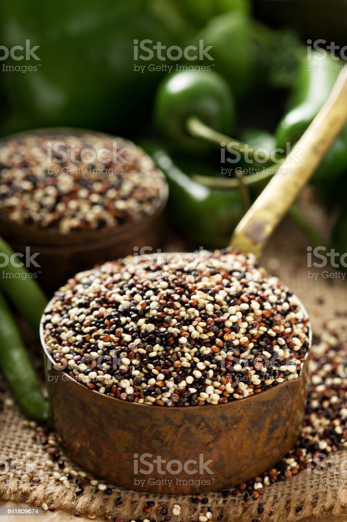 Cooking with quinoa stock photo