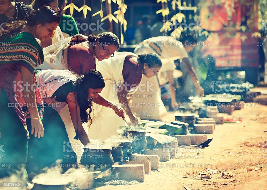 Cooking women. Religious festival. stock photo